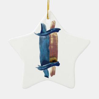Water Color Torah Ceramic Star Ornament