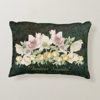 WATER COLOR VINTAGE FLOWERS PILLOW FOREVER FRIENDS