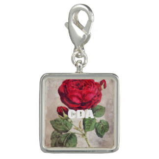 Water Color Vintage Rose Photo Charm