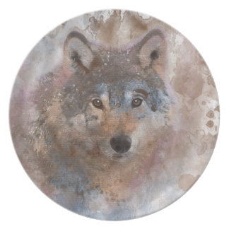 Water color Wolfs Plate