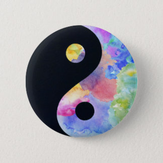 Water Color Yin Yang Button