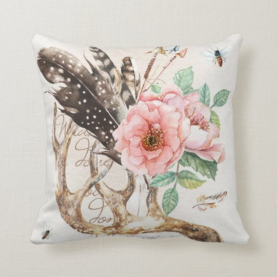 Water colour antler pillow