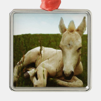 Water Colour Foal Silver-Colored Square Ornament