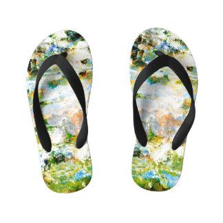 Water colour, grunge rustic graphic design art kid's flip flops