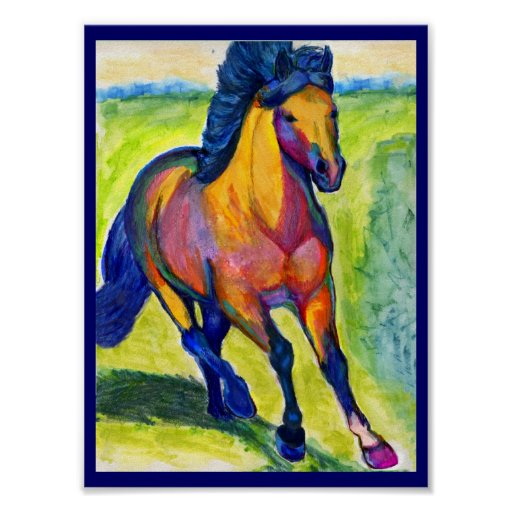 Water Colour Horse Painting Poster