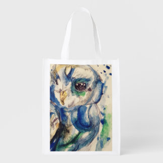 Water colour owl reusable grocery bag