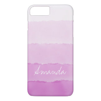 Water Colour pink ombre Stripes Custom name iPhone 8 Plus/7 Plus Case