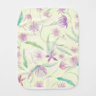 water colour pink palms baby burp cloths
