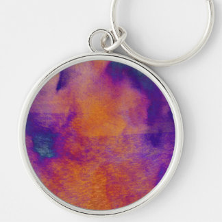 Water colour red yellow blue purple graphic art Silver-Colored round keychain