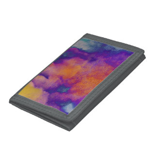 Water colour red yellow blue purple graphic art trifold wallet