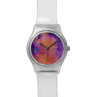 Water colour red yellow blue purple graphic art wristwatch