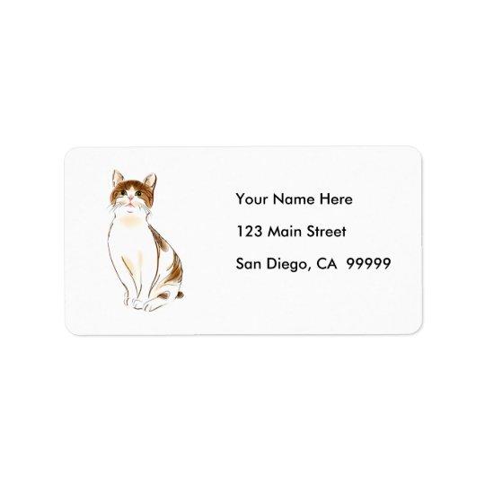Water Colour White & Orange Staring Cat Label