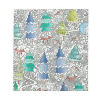 Water colour winter forest notepad