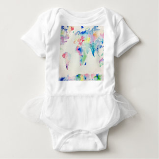 water colour world map baby bodysuit