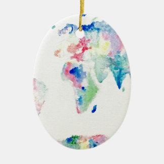 water colour world map ceramic ornament