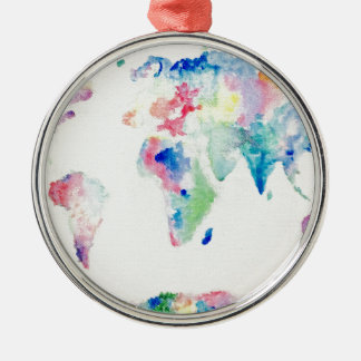 water colour world map metal ornament