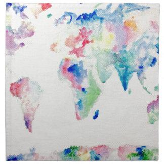 water colour world map napkin