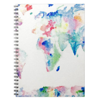 water colour world map notebooks