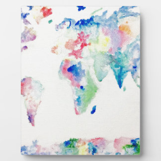water colour world map plaque