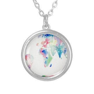 water colour world map silver plated necklace