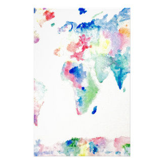 water colour world map stationery