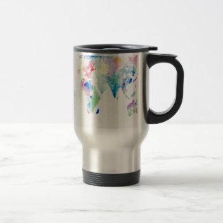 water colour world map travel mug