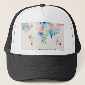 water colour world map trucker hat