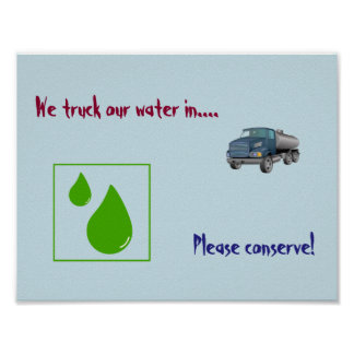 Water conservation sign poster