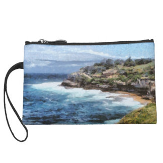 Water cove with rocky cliffs wristlet