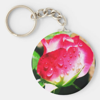 Water Covered Rose Keychain