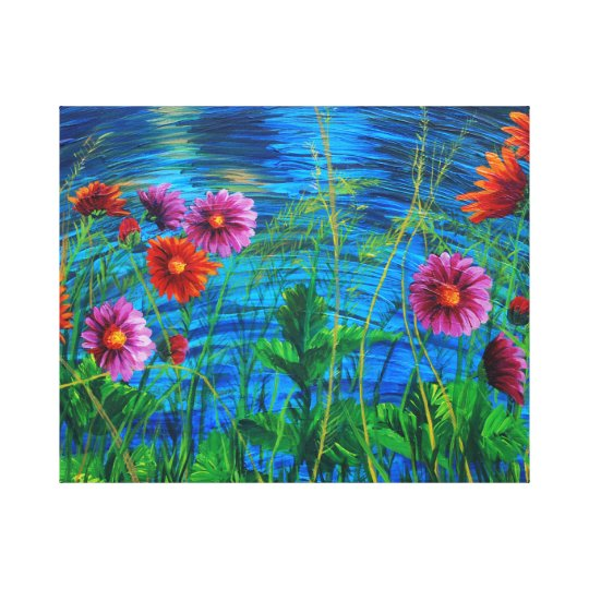 water daisies canvas print