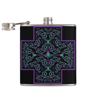 Water Dragon Celtic Cross Flasks
