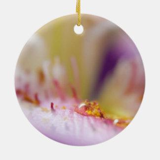Water Drop on Flower Round Ceramic Ornament