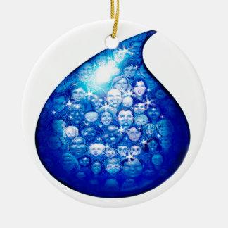 Water Drop Round Ceramic Ornament