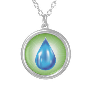 water drop silver plated necklace
