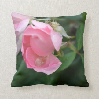 Water Drop & The Pink Rose Throw Pillow