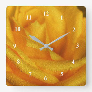 Water Droplets on Elegant Yellow Rose Square Wall Clock