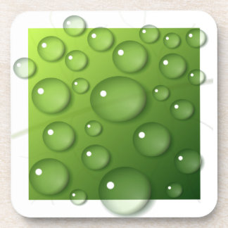 Water Droplets on Green Square Background Drink Coasters