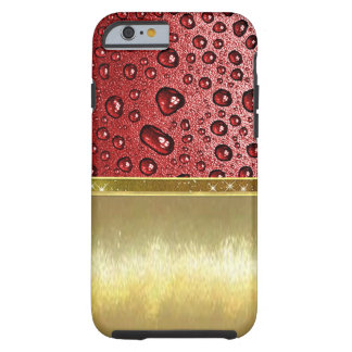 Water droplets on red leather case