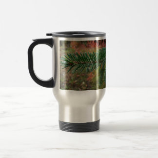 Water Droplets on Spruce Bough 15 Oz Stainless Steel Travel Mug