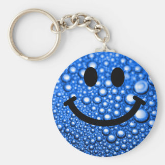 Water droplets smiley basic round button keychain