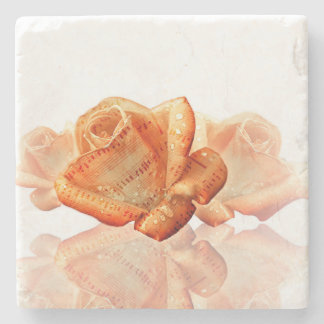 Water Dropped Rose with Sheet Music Stone Coaster