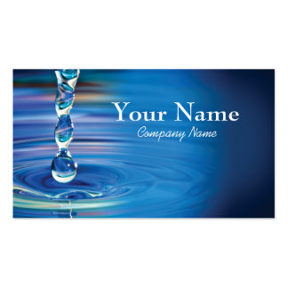 Water drops flowing into pool pack of standard business cards