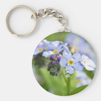 Water Drops - Forget Me Nots Basic Round Button Keychain