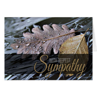 Water Drops on Autumn Leaves - Sympathy Card