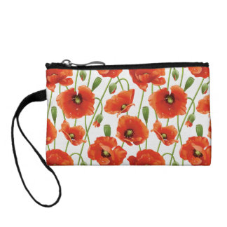 water drops on cute poppies coin purse
