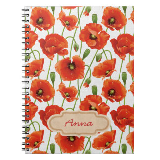 water drops on cute poppies notebook
