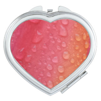 Water Drops on Flower  Heart Compact Mirror