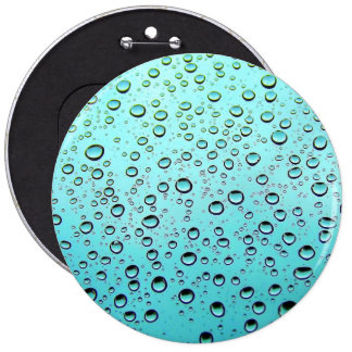 Water drops on window 6 inch round button