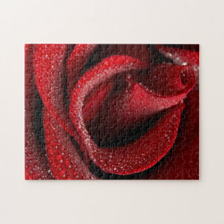 Water Drops Red Rose 11x14 Jigsaw Puzzle